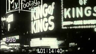 Stock Footage - TIMES SQUARE NIGHT. CROWDS AT ROXY. VINTAGE CARS NEW YORK CITY