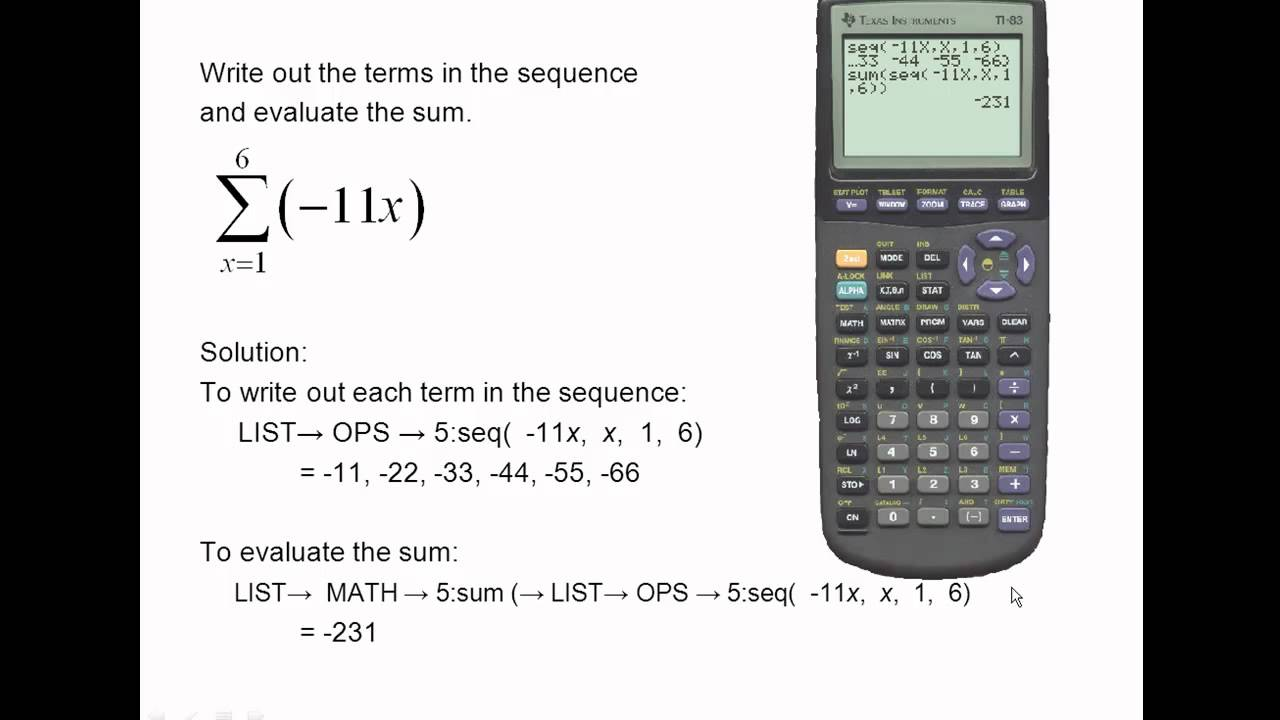 Ti 83 Sequences And Summations Youtube