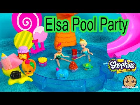 Disney Frozen's Queen Elsa Pool Party With Shopkins From Season 1, 2, 3 + Limited Edition Tin'a Tuna