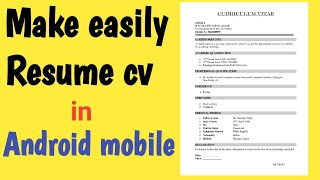 How to Make Resume Cv on Android mobie in Tamil