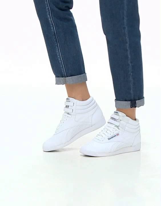 Reebok Classic Free Style Hi Spirit White Trainers - YouTube f7c99244a