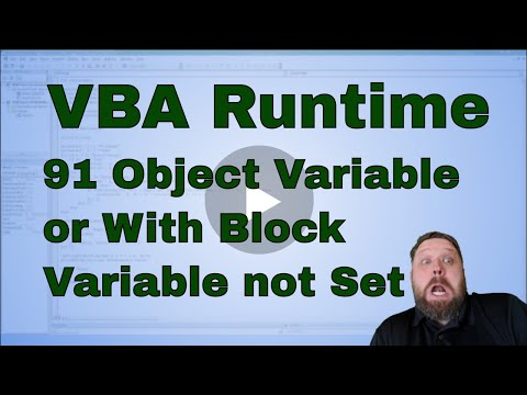VBA Run-time Error '91' Object-variable or With block variable not set