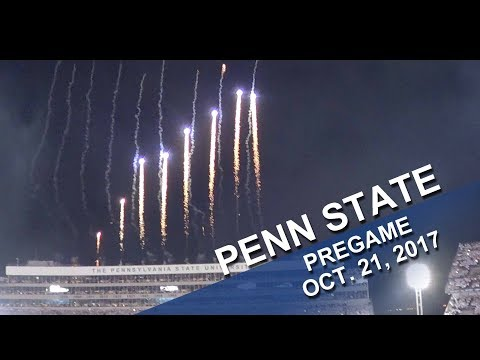 Penn State Blue Band Whiteout Pregame Show - with fireworks.  Oct.  21, 2017.