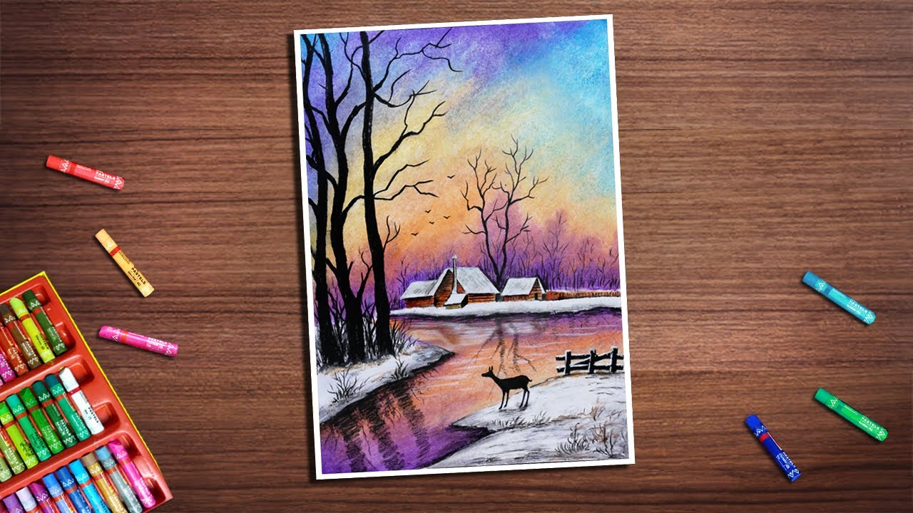 Beautiful Monochrome Scenery Drawing with Oil Pastels|| Oil pastels Scenery Drawing-Step by Step