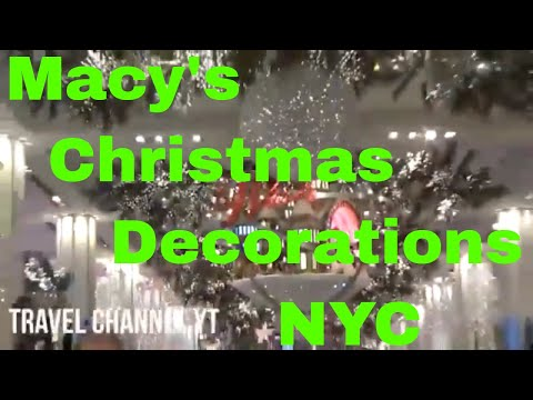 NYC (New York) Macy's Christmas Decorations, Time Square ball drop 2018, and Ice Skating
