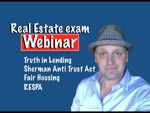 Webinar - Fair Housing, Anti Trust Act, RESPA, TILA