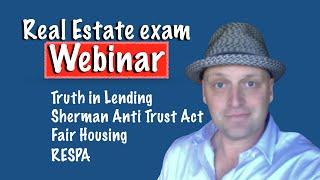 Webinar - Fair Housing, Anti Trust Act, RESPA, TILA