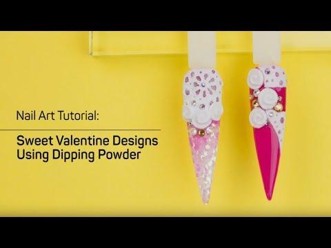 Valentine 3D Nail Art Designs Using Dipping Powder - LDS Nails