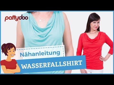 Shirt mit Wasserfallausschnitt nähen lernen - YouTube
