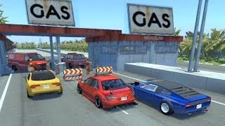BeamNG drive - Gas Station exploding car Crashes