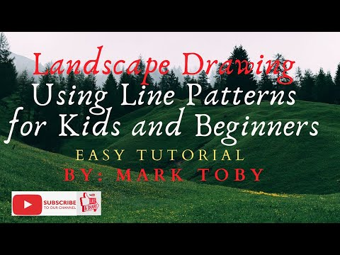 Landscape Drawing By Using Line Patterns For Kids and Beginners  – Easy Tutorial