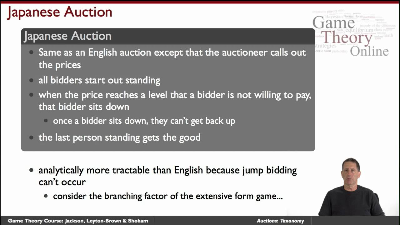 GTO2 4 02 Auctions Taxonomy Game Theory Online