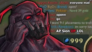 Tilting EVERYONE with FULL AP Sion | New runes + Items!!