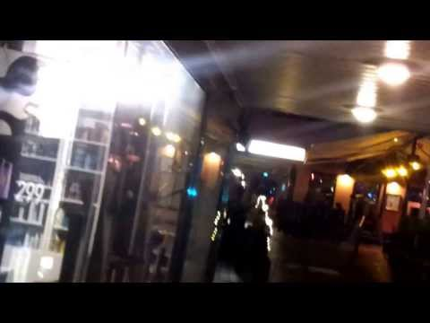 Midnight jogging in downtown Oslo with smartphone attached to forehead