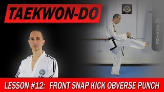 Front Snap Kick Obverse Punch - Taekwon-Do Lesson #12