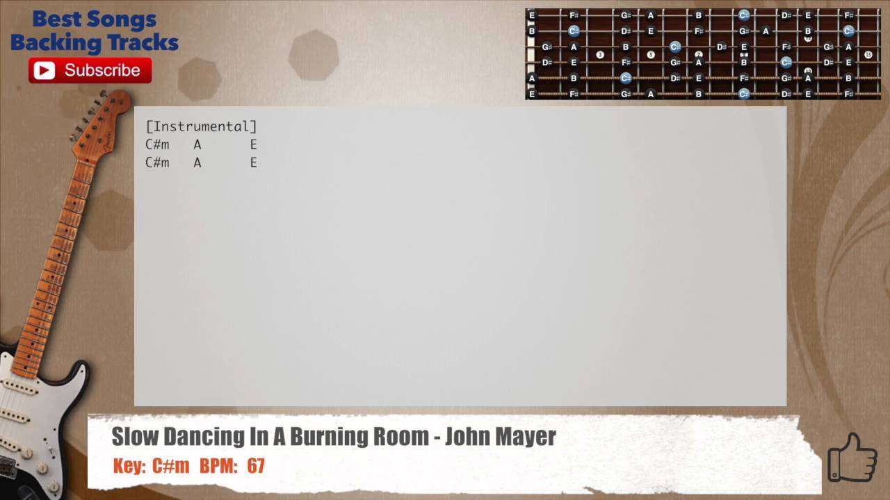 Slow Dancing In A Burning Room John Mayer Guitar Backing Track