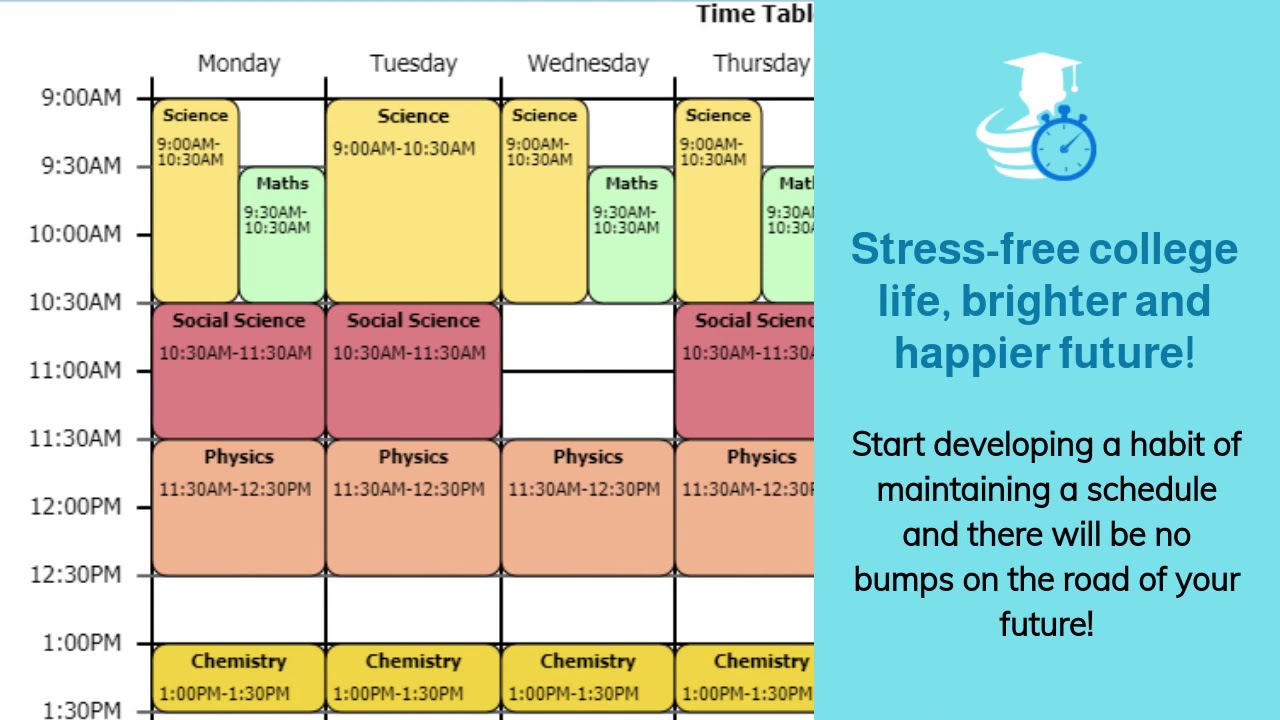 How to organize study time? Schedule classes using schedule builder