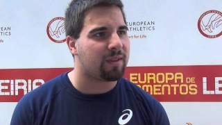 Quentin Bigot (FRA) after winning U23 Men Hammer Throw, Leiria 2014