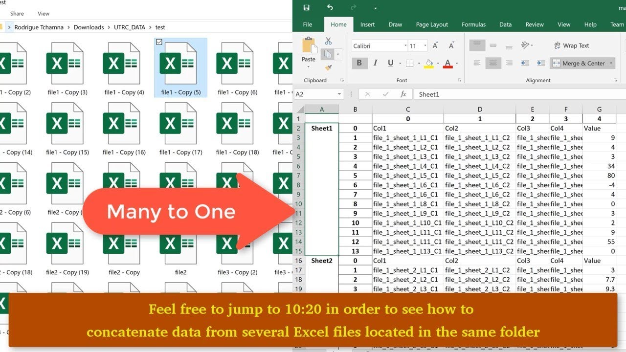 Combine/concatenate/join data in many excel or csv files in the same folder  using Python