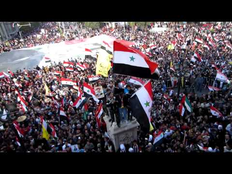 Damascus greets the Russian observer delegation with a mass demonstration, 20 November 2011