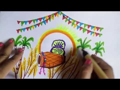 Baisakhi 2018 Drawing And Painting How To Draw Vaisakhi Festival