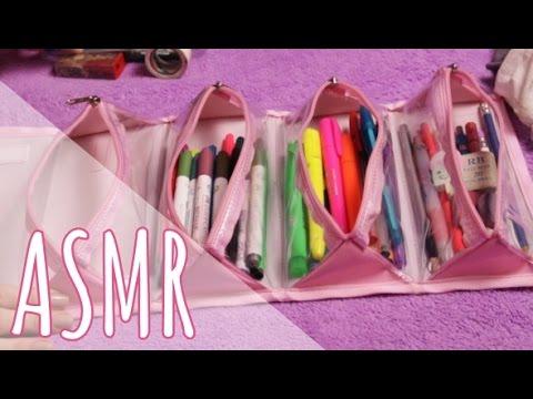 🎧[ASMR BINAURAL]👂  Organizando estojo ~Sons de lápis, plástico, tapping, ziper, etc