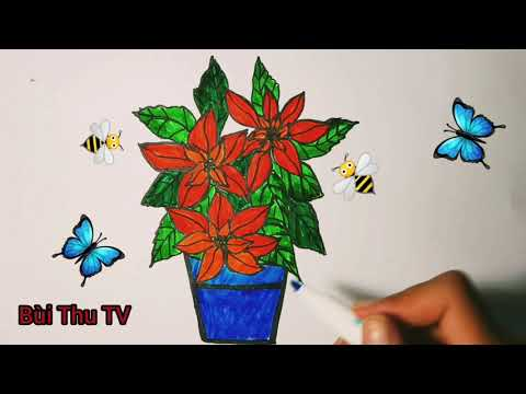 Bé tập vẽ / vẽ chậu hoa / bé học vẽ / Vẽ chậu cây / vẽ cây / vẽ hoa