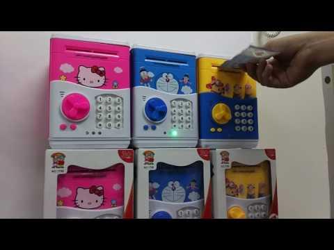 JMALL New Piggy Bank ATM Doraemon Kitty Minions DEMO AUTO OPEN