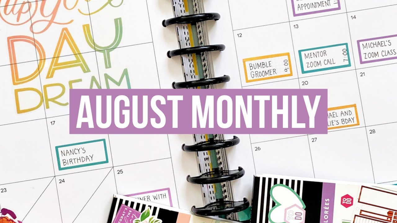 Plan With Me // August 2020 Monthly Page // Big Happy Planner