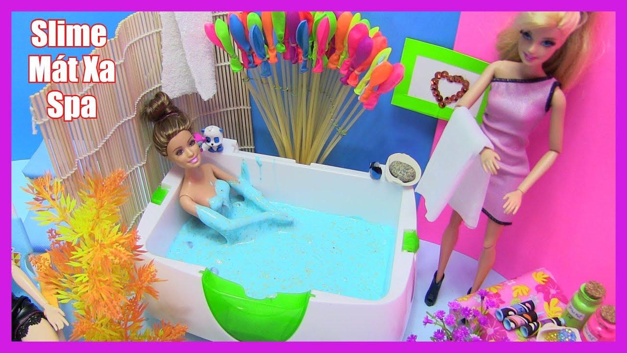 Búp Bê Barbie Thử Làm Nhân Viên Mát Xa – Spa – Tắm Bồn Slime (Chị Bí Đỏ) Đồ Chơi Trẻ Em