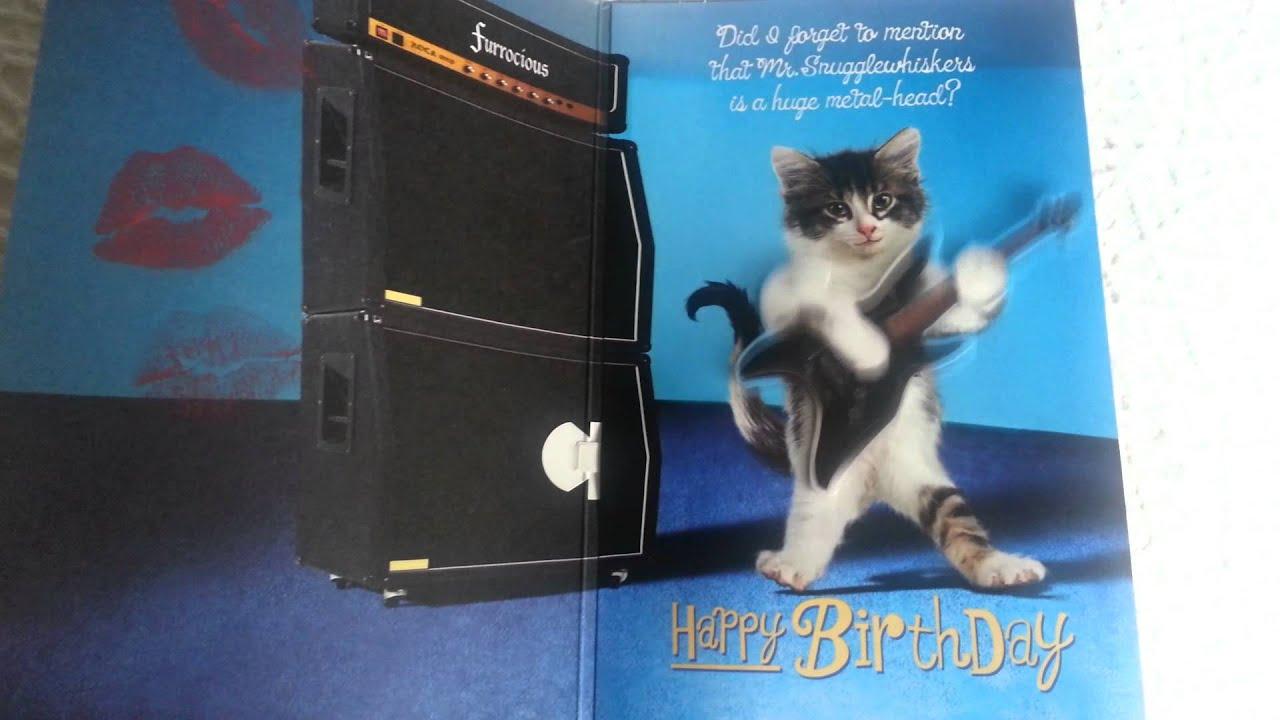 metal cat birthday card, Birthday card