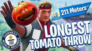 LONGEST TOMATO THROW *WORLD RECORD* in Fortnite Battle Royale!