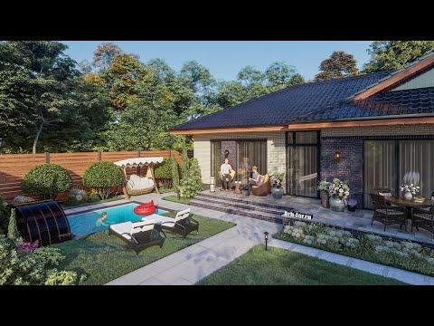 Проект одноэтажного дома 99м2 с котельной и открытой террасой на участке 6 соток