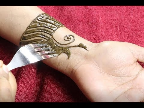 Apply Mehndi Design With The Help Of Fork Fork Mehndi Trick For Easy And Simple Mehndi Design Youtube