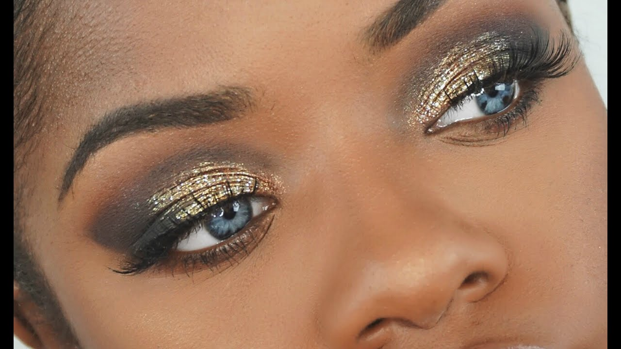 makeup tutorial dramatic gold glitter smokey eye youtube