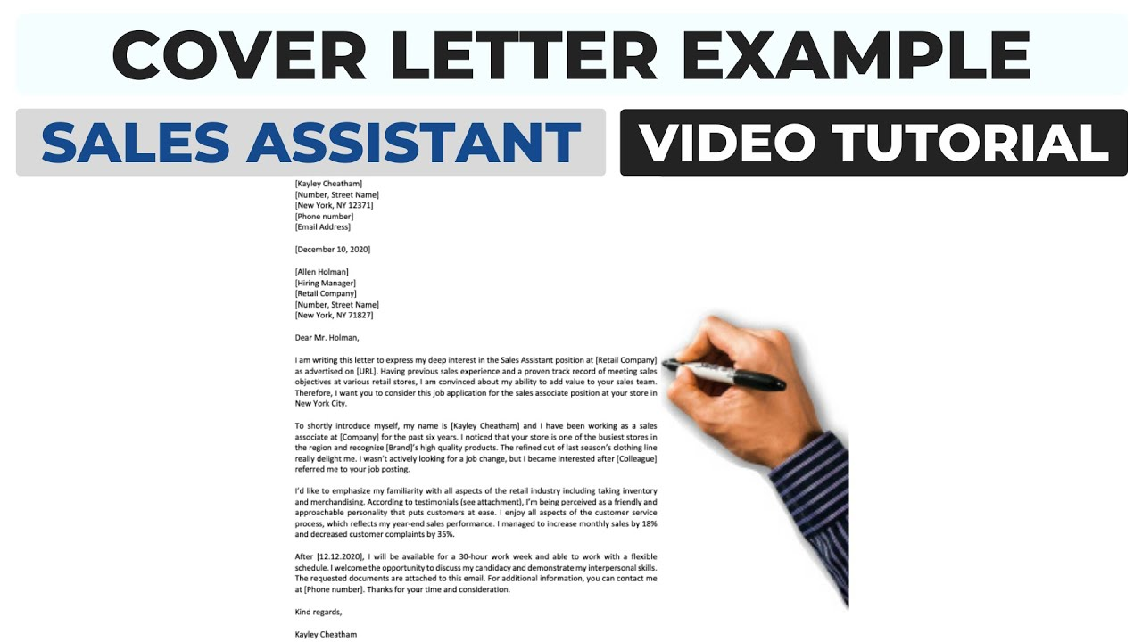 Cover Letter Example Sales Assistant Associate Position Youtube