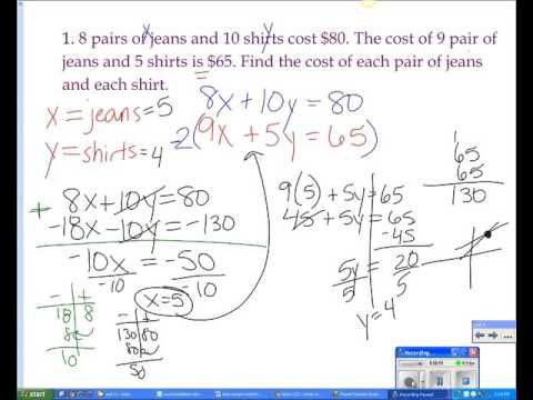 Systems of Equations Word Problems (Elimination Method)