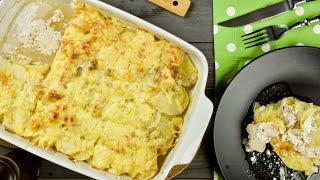 Курица с картошкой в сливках под сырной шубкой в духовке