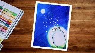 Moonlight Night Firefly Drawing With Oil Pastel Step By Step | Firefly Scenery Drawing