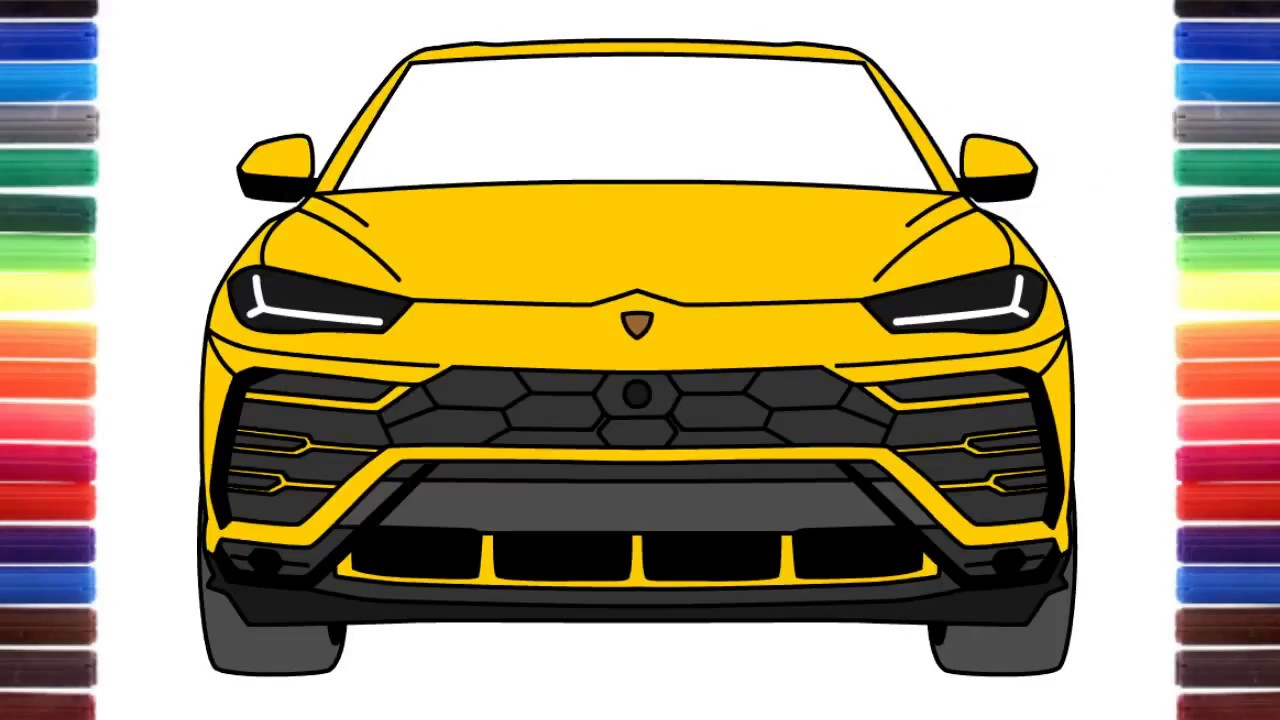 How To Draw A Car Lamborghini Urus Front View Youtube