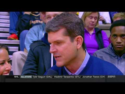 Jim Harbaugh interviewed by Kaylee Hartung at Kentucky Vanderbilt game