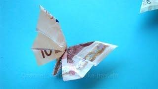 Repeat youtube video Geldscheine falten für Geldgeschenke: Schmetterling