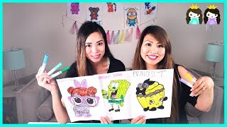 3 MARKER CHALLENGE with Princess ToysReview! Spongebob, LOL Surprise , and Shopkins