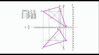 Определение расстояния от точки до плоскости треугольникаНатуральная величина расстояния