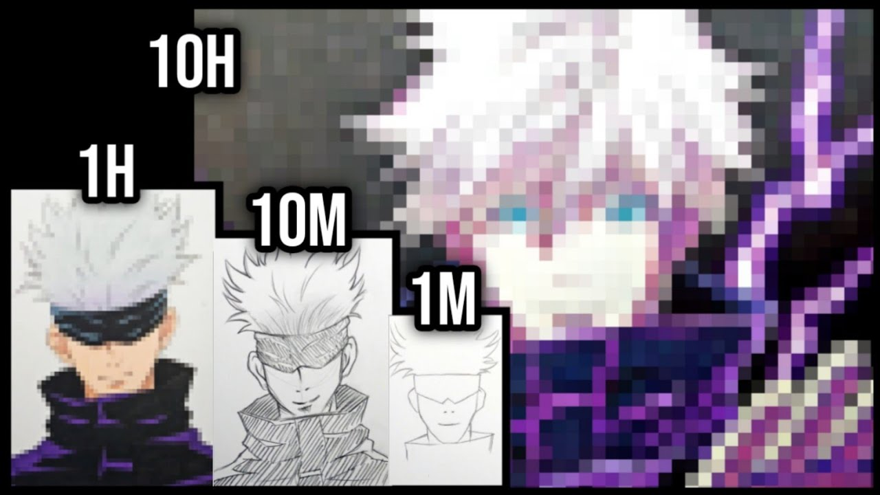 Drawing CHALLENGE | 1M 10M 1H 10H | GOJO SATORU [ Jujutsu Kaisen / 呪術廻戦 ]