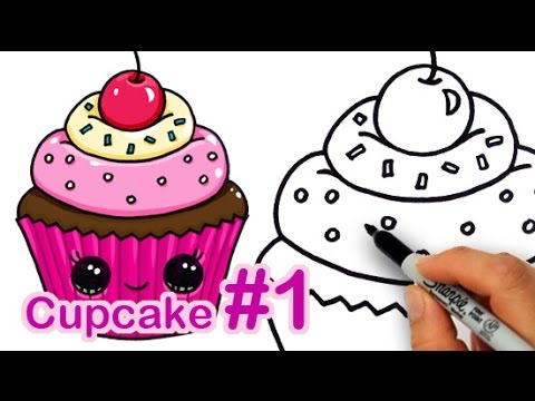How to draw a cute cupcake 1 step by step easy sweet for Cute muffin drawing