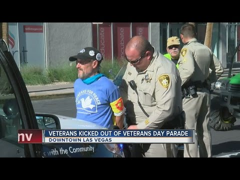 Las Vegas police help kick out veterans' group from downtown parade