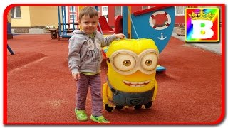 MINIONS.  Family Fun Playtime on the playground chase with minions on BOGDAN'S SHOW