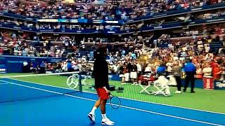 Roger Federer points & hits a ball directly into his families hand in the crowd! Amazing!