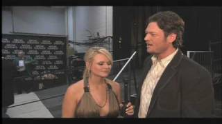 blake shelton and miranda lambert backstage at george strait acm artist of the decade concert